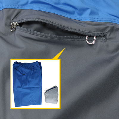 ポケッタブル 通常はファスナー付きポケット。ポケッタブル格納用ポケットにもなり、パンツ全体を収納できます。便利なアクセサリーコード付き。