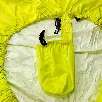 収納袋脱落防止 パックカバーと収納袋は紛失防止のため連結しています。