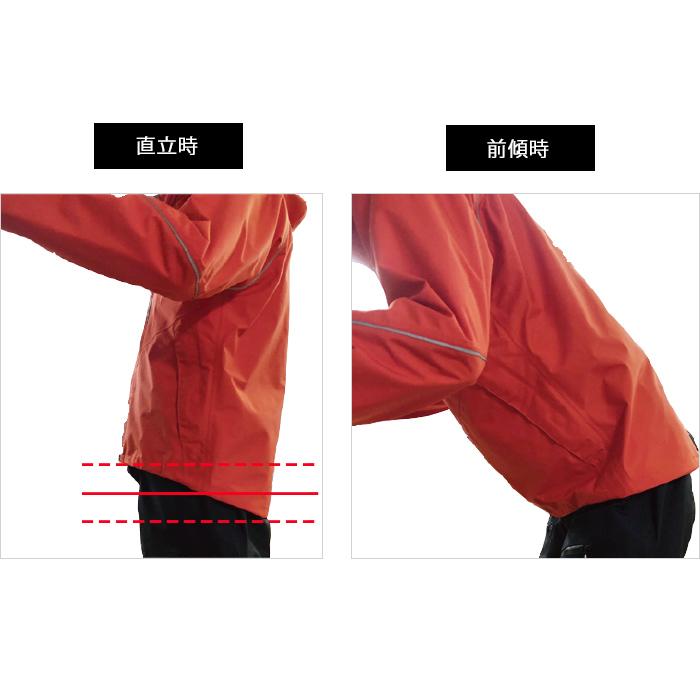 かがむ動作を想定した独自のパターンを設計しているので、前傾時に前裾のだぶつきによる腹部の圧迫と背中の露出を軽減します。