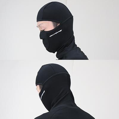 しっかり頭や顔を包む立体形状。